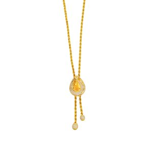 14K Solid Gold Modern Design Tugra Cubic Zirconia Necklace