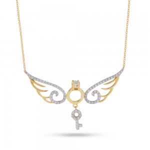 14K Solid Gold Modern Design Key Solitaire Like Wing Cubic Zirconia Necklace