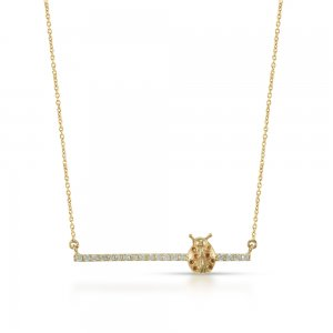 14K Solid Gold 3D Bar Ladybug Cubic Zirconia Necklace