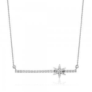 14K Solid Gold 3D Bar Star Cubic Zirconia Necklace