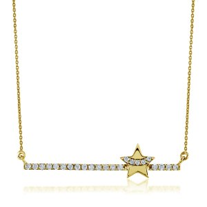 14K Solid Gold Star Cubic Zirconia Necklace
