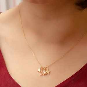 14K Solid Gold Drop Dangle Solitaire Like Star Cubic Zirconia Necklace