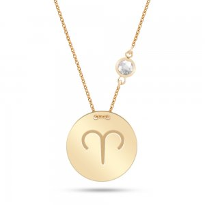 14K Solid Gold Star Aries Cubic Zirconia Necklace