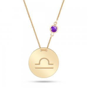 14K Solid Gold Star Libra Cubic Zirconia Necklace