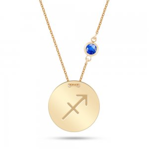 14K Solid Gold Star Sagittarius Cubic Zirconia Necklace