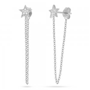 14K Solid Gold Drop Dangle Star Cubic Zirconia Earring