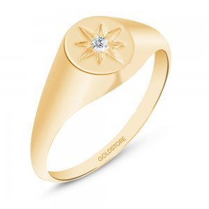 14K Solid Gold Star Pole Cubic Zirconia Ring