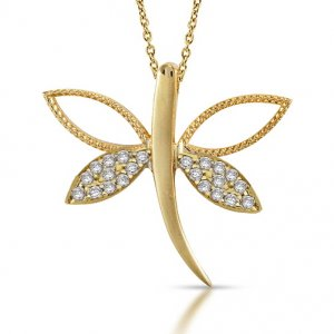 10K Solid Gold Dragonfly Cubic Zirconia Necklace