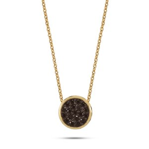 14K Solid Gold Modern Design Cubic Zirconia Necklace