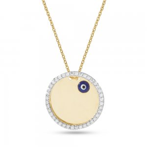 14K Solid Gold Initial Name Evil Eye Medallion Cubic Zirconia Necklace