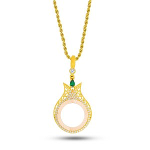 14K Solid Gold Modern Design Tulip Cubic Zirconia Necklace
